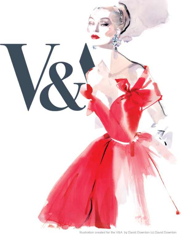 Victoria and Albert Red Dress Illustration