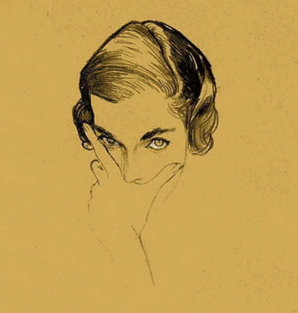 René Bouché, portrait of Mona Bismark, Vogue US