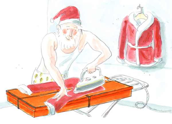 Santa Claus illustration ironing