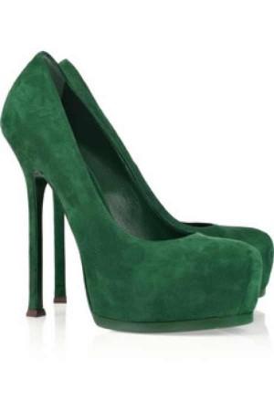 YSL green suede