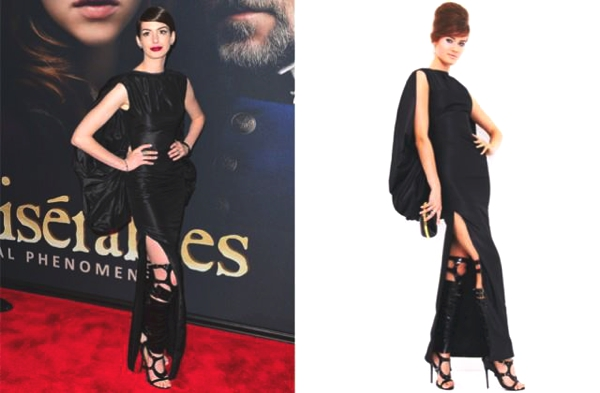 Anne Hathaway wearing a head-to-toe look from Tom Ford's spring 2013 collection, dominatrix (vegan) boots included.