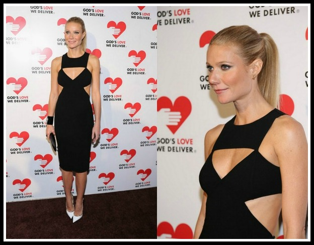 Gwyneth Paltrow's Golden Heart Gala Michael Kors Spring 2013 Cut Out Dress and Jimmy Choo Vero Pumps