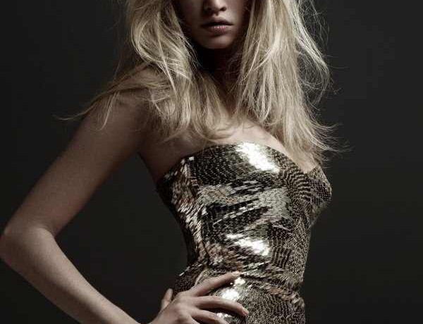 Lara Stone Voque France Gold dress