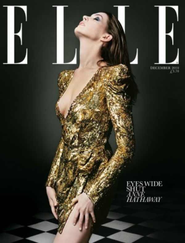 Golden dress anne-hathaway-elle-uk-december-2010-subs-cover-