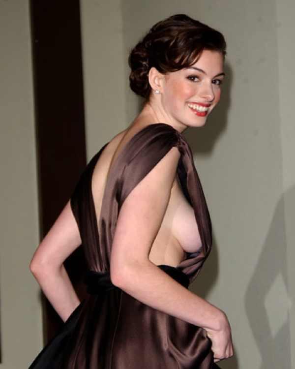 Anne Hathaway sexy evening dress