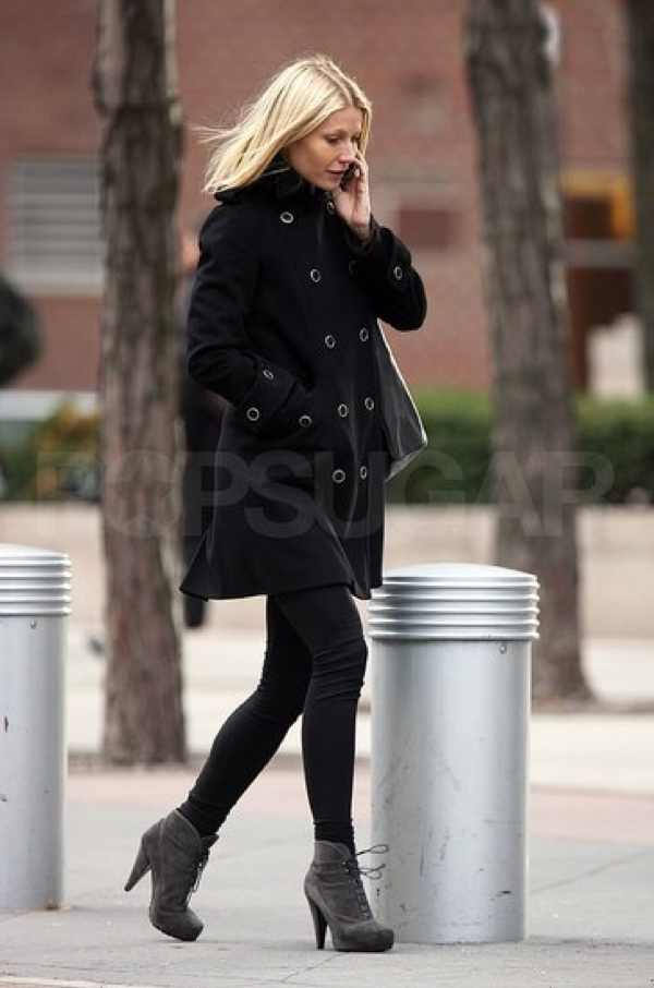 Gwyneth Paltrow coat black street style