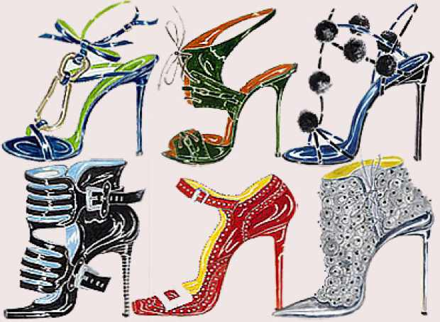 manolo-blahnik illustrations drawings