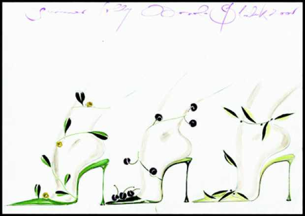 Manolo Blahnik Olive shoe drawings