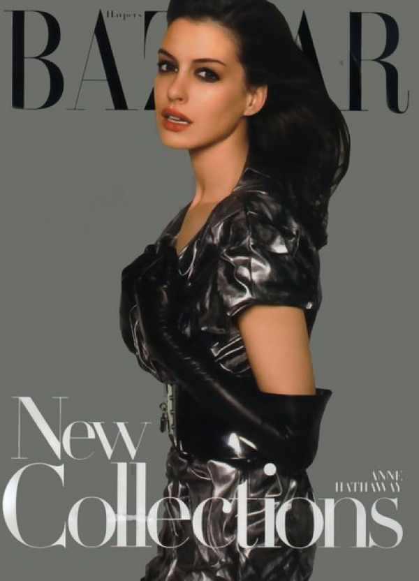 Anne Hathaway black Dress Harper's Bazaar