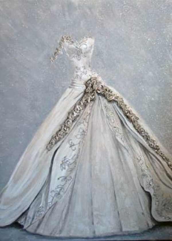 painting wedding dress romantic