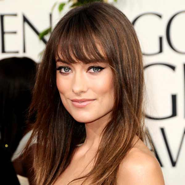 Olivia Wilde bangs with long Hair and cat eyes makeup