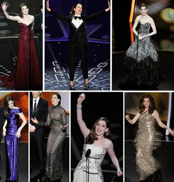 Anne Hathaway collage of her Oscar outfits