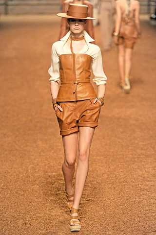 Hermes Tan Leather Shorts and top