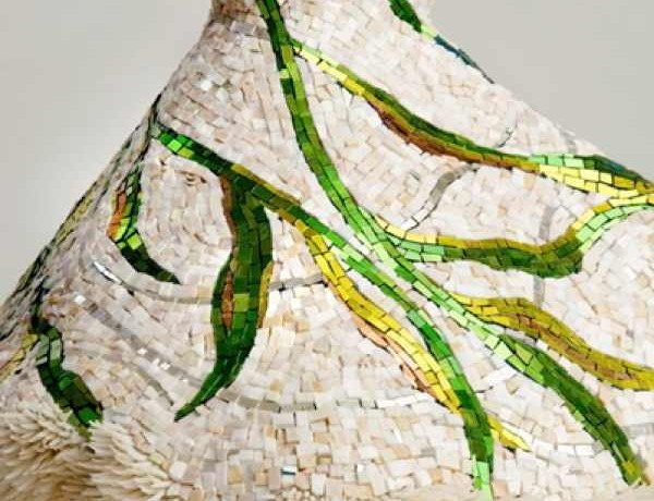 Marble Dress Sculpture 'la corrente' by Texas artist Julie Richey