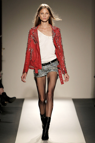 Balmain red leather jacket