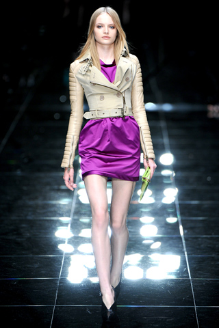 Burberry Prorsum Beige Nude leather jacket and Pink Dress