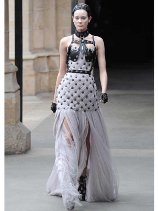 Alexander McQueen: Leather trimmed dress Fall/Winter 2011-2
