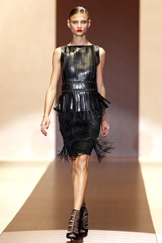 Gucci black leather top and skirt 2011