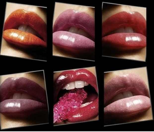 lips wearing lipstick collage