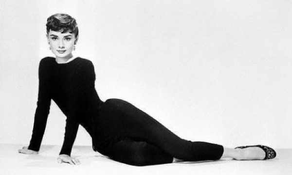 Aundrey Hepburn wearing a Little Black Dress and black classic ballerina flats