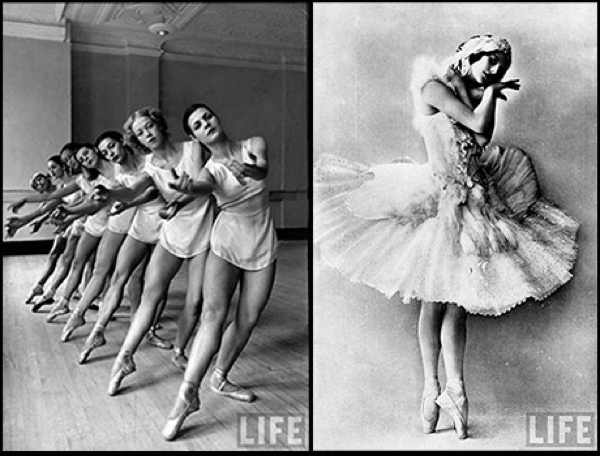 Anna Pavlova, a famous Russian ballerina of late 19th, early 20th century, and group of dancers at George Balanchine's School of American Ballet.