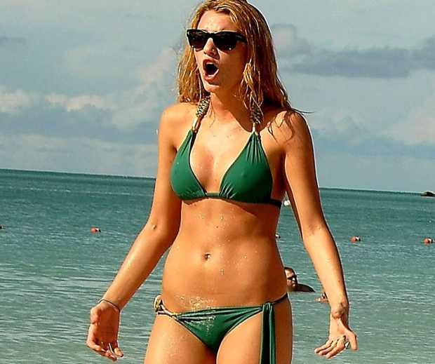 Blake Lively beach green bikini