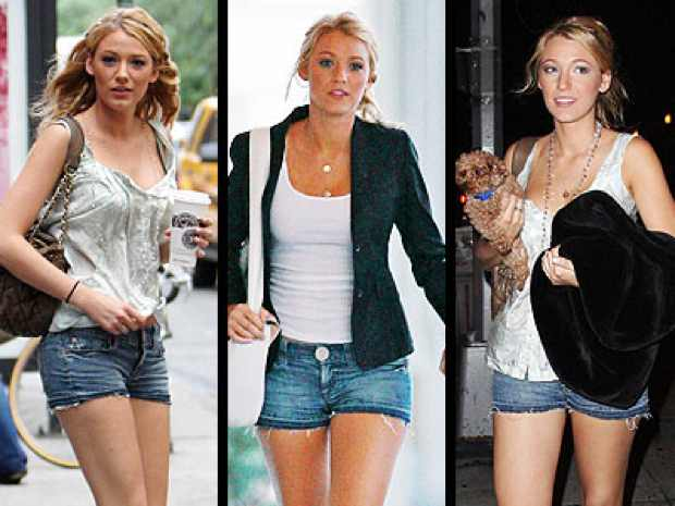 Blake Lively jeans shorts cut offs
