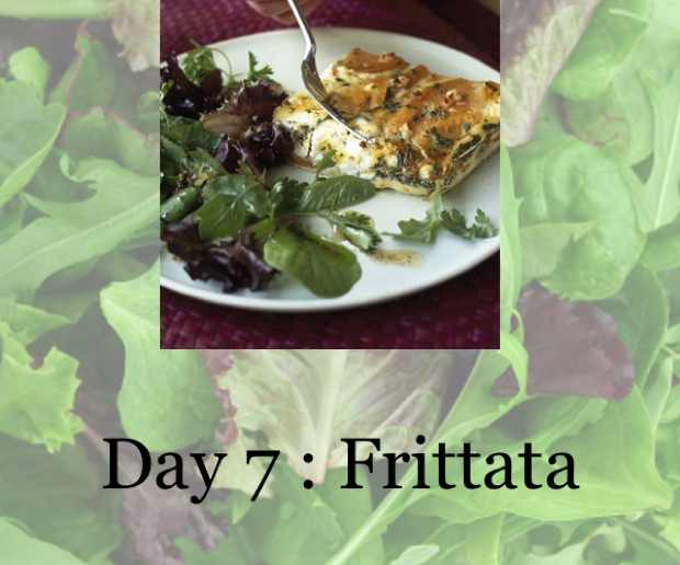 Roasted vegetable frittata and a green salad
