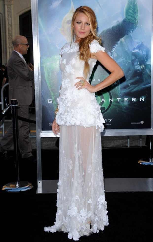 Blake Lively sea through white dress