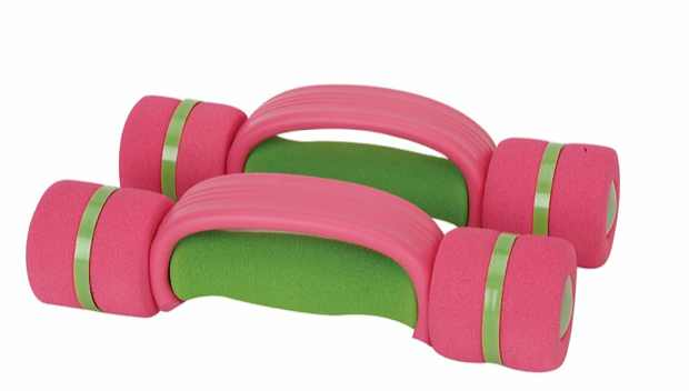 pink green  dumbbells