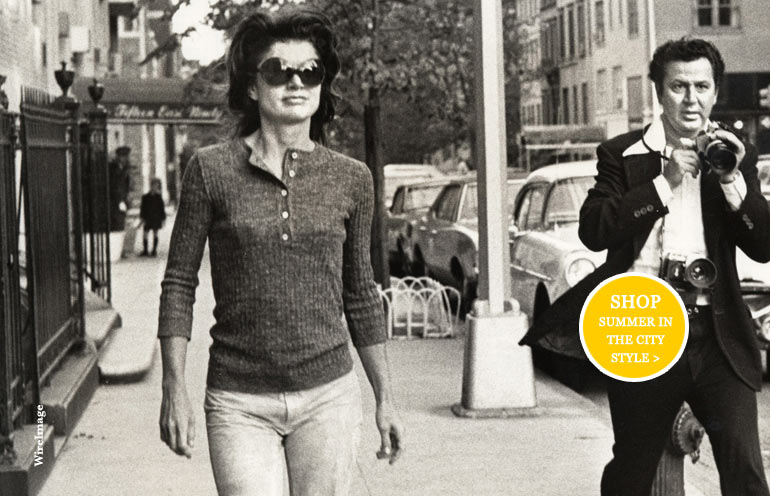 Jackie Kennedy Onasis wearing her famous sunglasses