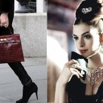 Hermes Croco handbag - Anne Hathaway retro hair and makeup collage by Nina Papaioannou
