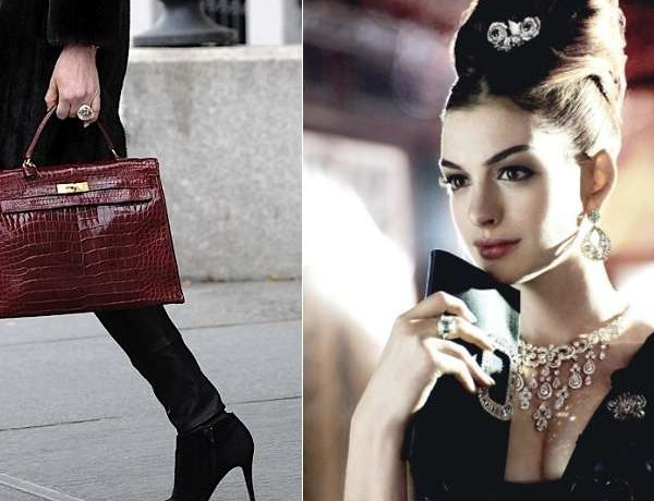 Hermes Croco handbag – Anne Hathaway retro hair and makeup collage by Nina Papaioannou