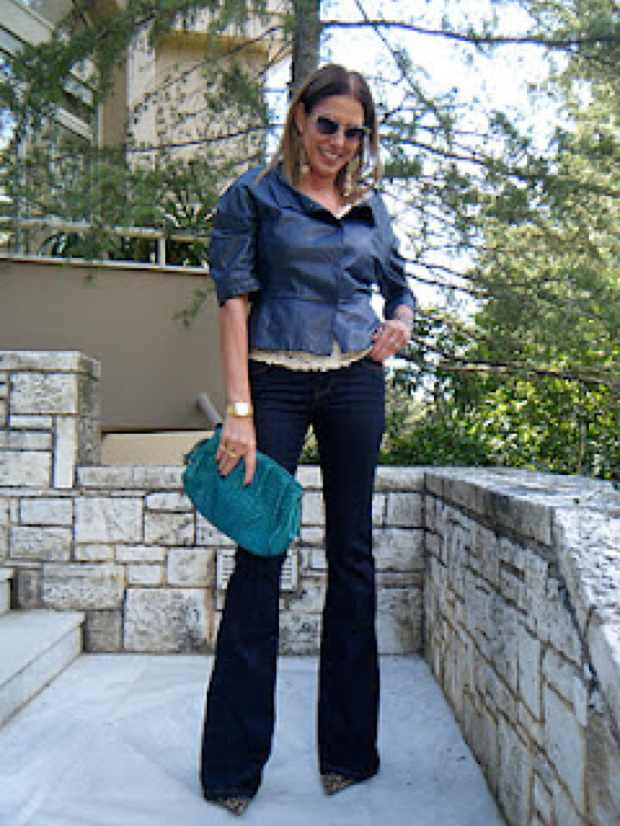1970's flare jeans, Prada Leather jacket, Zara jeans and shoes