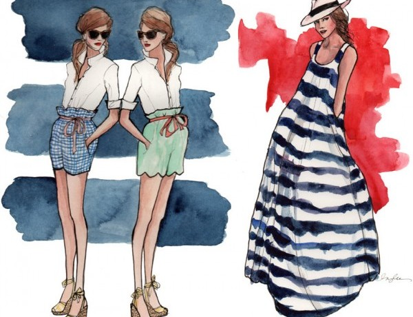 Inslee Haynes fashion illustration stripes dress