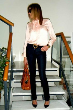 Celine Silk Vintage shirt and Escada Vintage belt