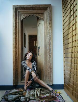 Diane Von Fustenberg in black and white wrap dress
