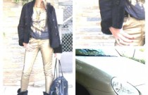 My Lookbook : How to wear trendy gold metallic jeans during the day?!