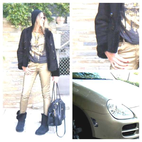 Gold pants and uggs Collage