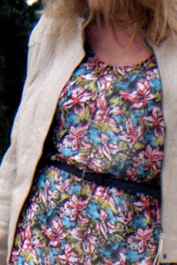 Joie floral silk dress design detail, DVF leather jacket