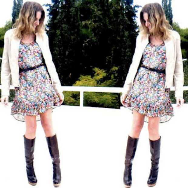 Silk Floral Dress and Marni boots