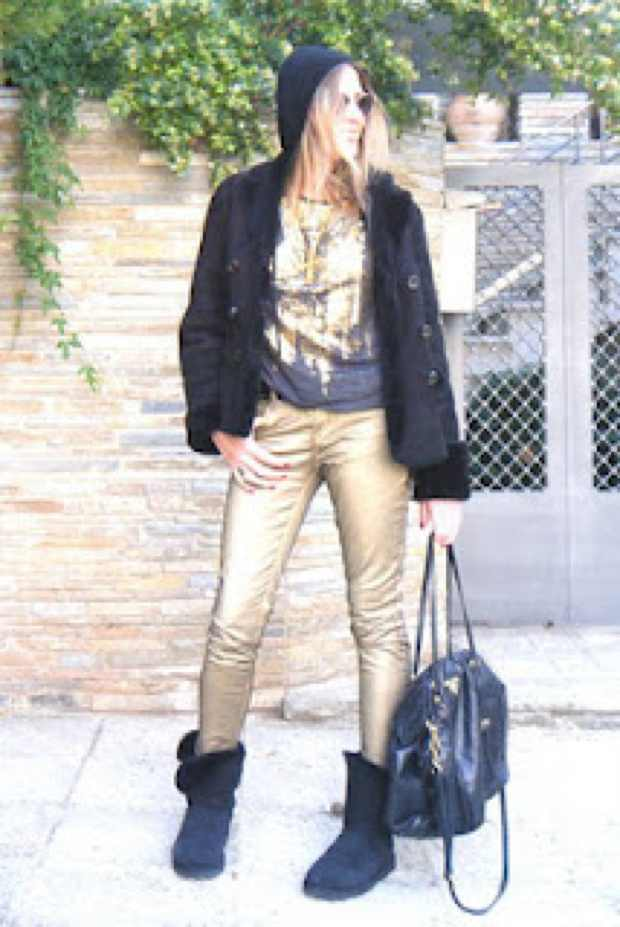 Golden Waxed Jeans and black accessories