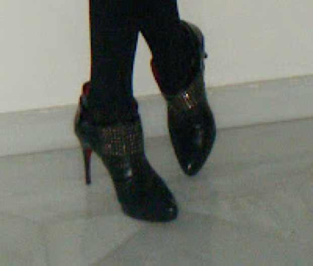 Black studded stiletto boots