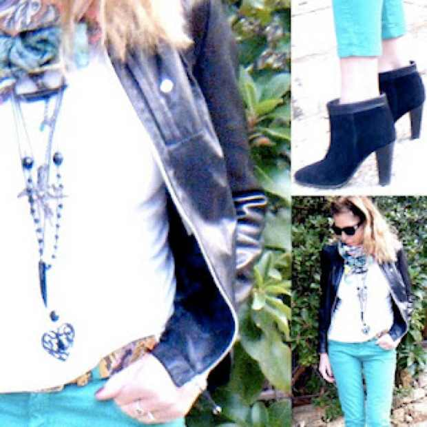 Green colored Jeans Outfit