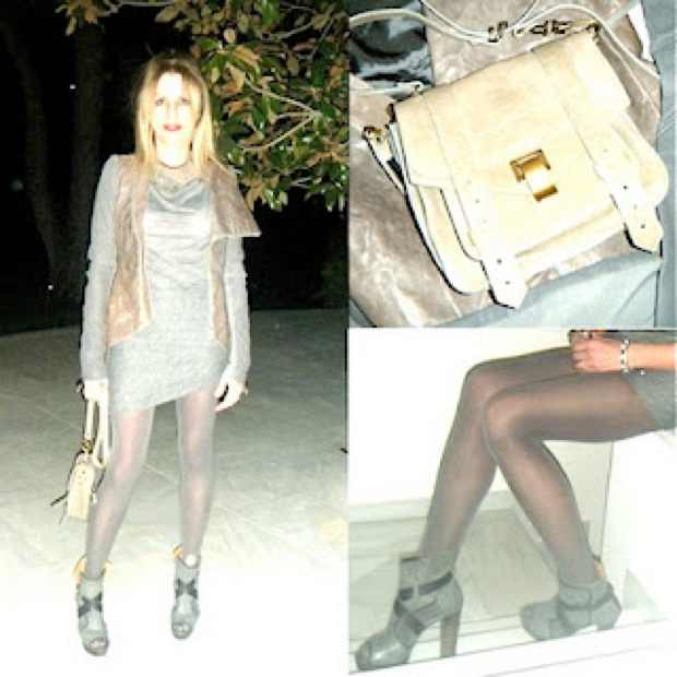 Total Grey Outfit, Proenza Schouler Bag and Chloe Boots