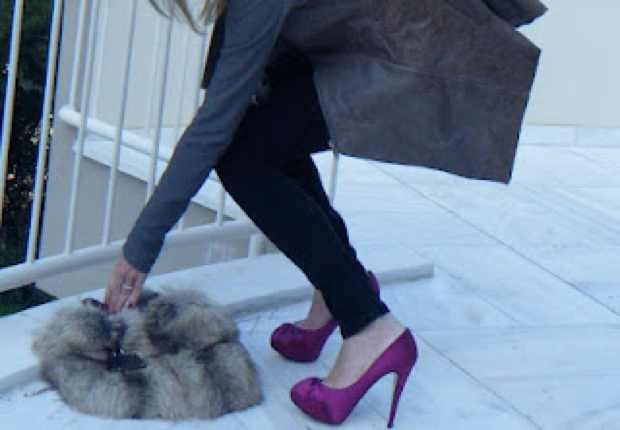 Gina Purple Satin Stiletto Shoes and fur Prada bag
