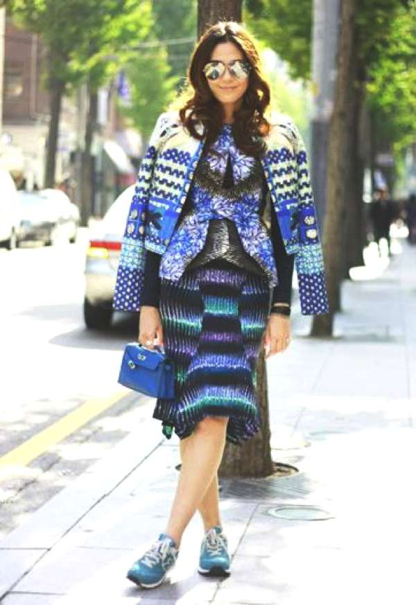 The famous Thai actress Chompoo Araya wearing print on print in our Tik Tok Jacket - amazing colours!