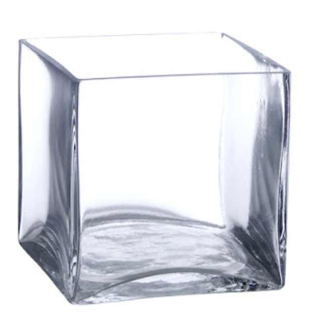 cube clear glass vase