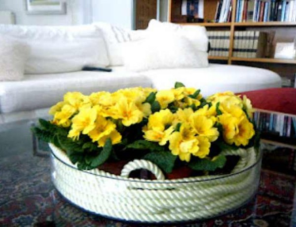 round vase yellow flower decoration