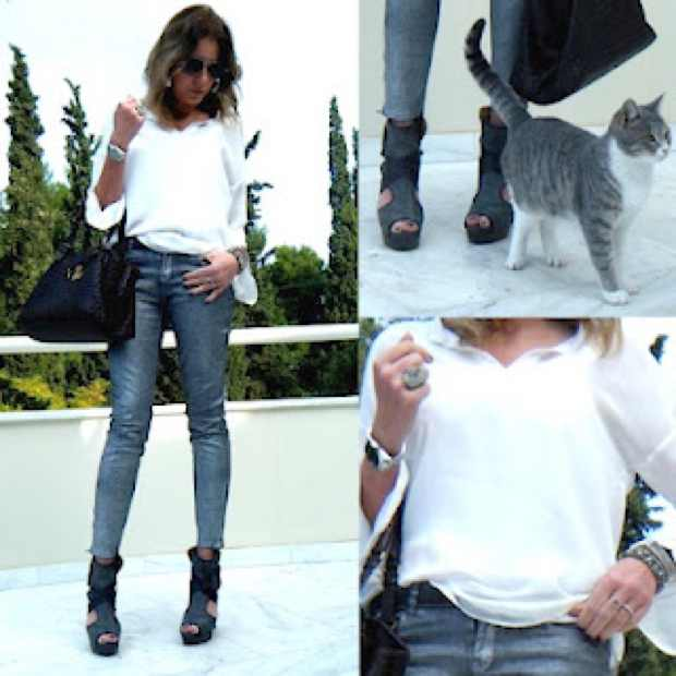Silver Coated Jeans Look Collage